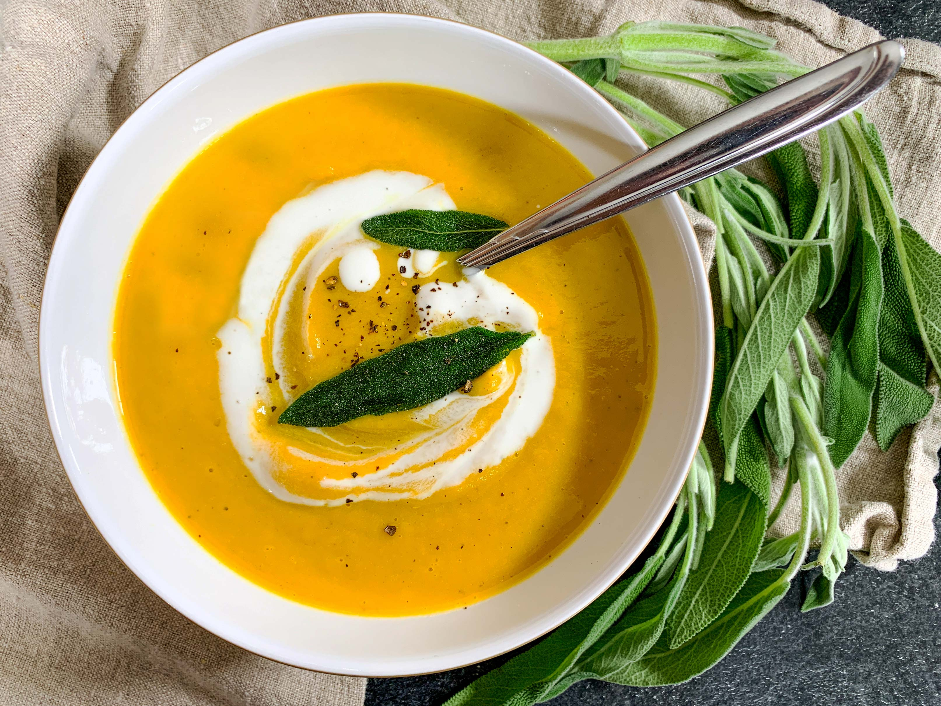 The finished butternut squash soup in a bowl