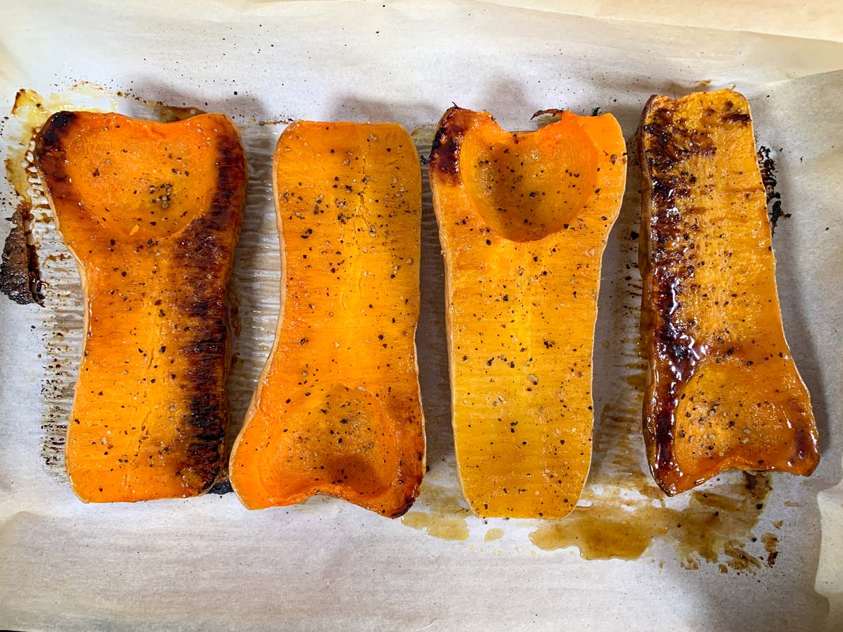 Squash halves, after they have been roasted